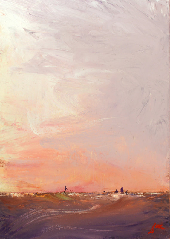 violet and apricot seascape painting by sue wellington